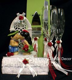 Luau HAWAII Wedding Cake topper Glasses Knife by YourCakeTopper