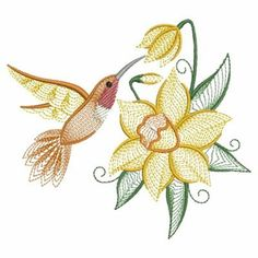 Daffodil Hummingbird embroidery design from embroiderydesigns.com