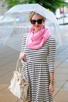 Pink scarf and black/white stripes