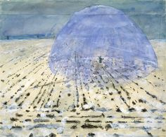 Everyone Stands Under His Own Dome of Heaven, 1970 Anselm Kiefer (German, born 1945) Watercolor, gouache, and graphite pencil on joined paper #Kiefer #art #shamanism