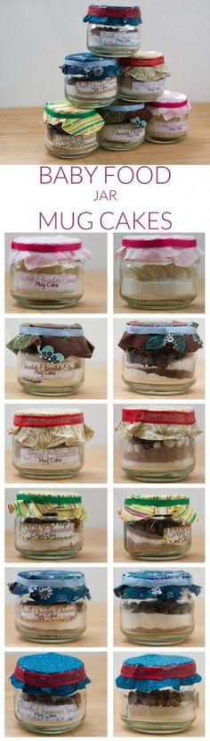 Crafty gift idea: Mug Cake Recipes using boxed cake mixes in upcycled baby food jars. Mug Recipes, Baby Food Recipes, Cake Recipes, Baby Jars, Baby Food Jars, Cake In A Jar, Dessert In A Jar, Mason Jar Meals, Meals In A Jar