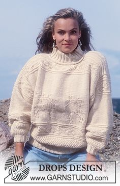 Sweater in Alaska with Reindeer in texture in Lady and Gent size. ~ DROPS Design