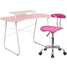 Flash Furniture NAN-7LF-GG Pink Computer Desk with Monitor Stand and Tractor Chair