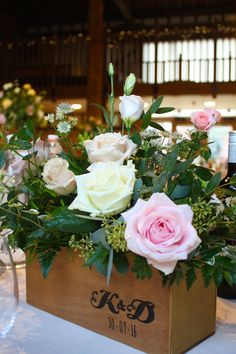 Personalised wooden boxes make for a lovely wedding finishing touch.