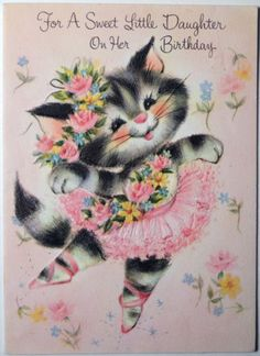 Vintage Fairfield 1950s Daughter Birthday Greeting Card Ballet Kitty Cat 321 Cards
