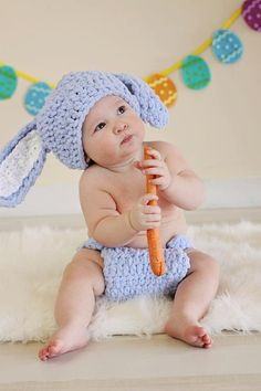 FREE SHIPPING Bunny Outfit, Crochet Easter Hat Diaper Cover, Photography Prop, Newborn, Baby Girl, Baby Boy, Toddler, Kids, Etsykids on Etsy, $35.00