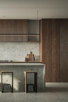 Ethno motive on Behance Minimal Kitchen Design, Contemporary Kitchen Design, Modern Interior Design, Interior Rendering, Interior Architecture, Rendering Architecture, Architecture Diagrams, Japanese Interior, Cabinet Design