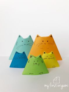 How to fold EASY ORIGAMI DOGS. Another triangle fold origami project that is fun and easy. Only a single fold at the end is different from the origami cup, so the Origami Cup, Easy Origami, Cup Crafts, Paper Crafts, Triangle, Dogs, Projects, Fun, Art Kids
