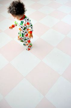 How to Paint Concrete Floors… Pink & White Checkered