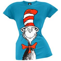 $22.00 Dr. Seuss - Oversized Cat in the Hat Juniors T-Shirt | OldGlory.com