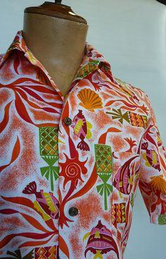 Waikiki Sports Vintage Late / Early by cowpunkabilly 1950s Men, 1940s, Vintage Hawaiian Shirts, Hawaiian Luau, Aloha Shirt, Angel Fish, Shirt Outfit, Cotton Fabric, Men Casual