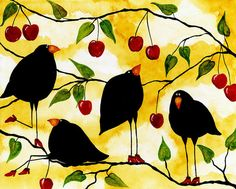 Hubbs Art Folk Prints Debi Hubbs Whimsical Crow Birds Blackbird Fruit Cherries Print by Debi Hubbs.  All prints are professionally printed, packaged, and shipped within 3 - 4 business days. Choose from multiple sizes and hundreds of frame and mat options.