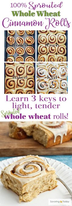 Sprouted Whole wheat is a healthier choice when baking your favorite breads. Learn the 3 keys to light and tender baked goods using sprouted whole wheat in this Cinnamon Roll Recipe. A favorite Christmas or brunch treat your whole family will love an Real Food Recipes, Baking Recipes, Yummy Food, Flour Recipes, Baking Ideas, Healthy Recipes, Bread Recipes, Healthy Foods, Yummy Recipes