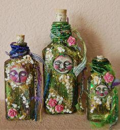Garden Spirits, Bottle Art  Cristina Zinnia Galliher