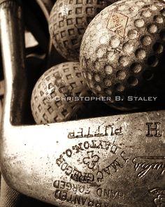 Vintage golf equiptment -  a fine art photogaph. $22.00, via Etsy.