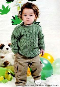 RU - All about knitting Baby Boy Knitting Patterns, Baby Sweater Patterns, Baby Sweater Knitting Pattern, Knitted Baby Cardigan, Baby Hats Knitting, Knitting For Kids, Baby Patterns, Pull Bebe, Baby Coat