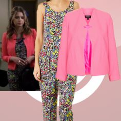 Where did Hanna get her pink jacket and multi coloured jumpsuit from on Pretty Little Liars 25/02/14? - Style on Screen