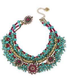 Betsey Johnson Gold-Tone Bead and Crystal Decorative Collar Necklace   macys.com