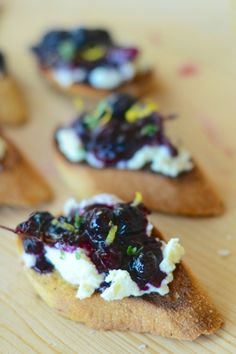 These fresh Blueberry Chutney & Ricotta Crostini are a sweet addition to any summer barbecue. The chutney can be made in advance for quick assemblage once the party begins!