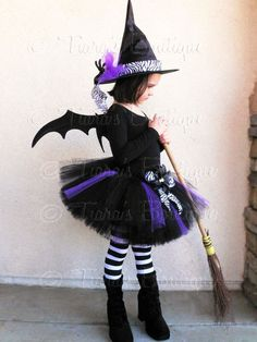 "Tutu Witch Costume - Willow, the Wild Witch - Black, Purple, and Zebra Sewn 10"" Tutu & Witch Hat - sizes Newborn to 5T - Wings Not Included. $64.00, via Etsy."