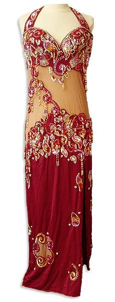 Elegant Red Dress Belly Dance Costume - At DancingRahana.com