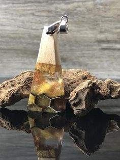 Wood epoxy jewelry, wood necklace with resin, bohemian jewelry, gift - Harzblick - Dread Jewelry, Resin Jewelry, Resin Pendant, Leaf Pendant, Stainless Steel Necklace, Stainless Steel Chain, Wood Resin, Wood Necklace, Polymer Clay Charms