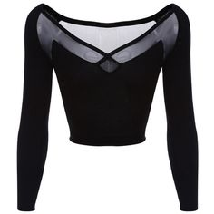 Black Long-Sleeve Sheer Mesh Back Crop Top ($33) ❤ liked on Polyvore featuring tops, shirts, black, crop top, blusas, sheer mesh long sleeve top, long-sleeve shirt, cut out shirt, cut-out shirts and long sleeve shirts