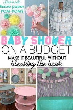 Baby Shower on a Budget. How to throw a beautiful party without breaking the bank. Great ideas for baby girl or boy and a ton of dollar store decoration hacks too! Pin and save for later!