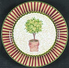 Waverly Topiary Salad/Dessert Plate, Fine China Dinnerware   Ornamental Trees In