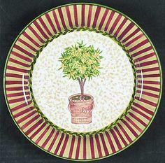 Waverly Topiary Salad/Dessert Plate, Fine China Dinnerware   Ornamental Trees In