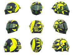Rossi's Solaluna 2018 Motorcycle Safety Gear, Motorcycle Helmet Design, Full Face Motorcycle Helmets, Biker Gear, Full Face Helmets, Motorcycle Art, Vr Helmet, Scooter Helmet, Valentino Rossi Helmet