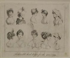 Museum of London | ENGRAVING Fashionable head dresses of the year 1799 Maker: The Ladies' Own Memorandum Book Production Date: 1799 ID no: 2002.139/1076
