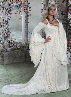 Gwendolyn Medieval Velvet and Lace Wedding Gown by RomanticThreads, $465.00