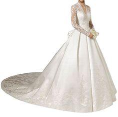 MILANO BRIDE Gorgeous V-neck Long Sleeves Ball Gown Applique Bridal Wedding Dress-2-Light Ivory MILANO BRIDE http://www.amazon.com/dp/B011TNA9OI/ref=cm_sw_r_pi_dp_QMUfxb1X7QEYM