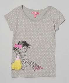 This Cherry Stix Gray Pink Ballerina Tee - Toddler & Girls by Cherry Stix is perfect! #zulilyfinds