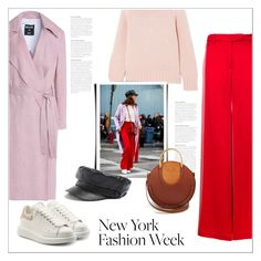 """NYFW: street style"" by bliznec ❤ liked on Polyvore featuring Valentino, Alexander McQueen, MSGM, Chloé and Topshop"