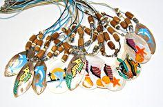 CLEARANCE 12 Pc Lots 19 in. Beach Necklaces Sea Shells Fish Sea Horse  7120 #GrassShackTrading #shelljewelry #beach