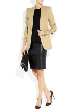 what to wear with my Black leather skirt - camel blazer, duh!