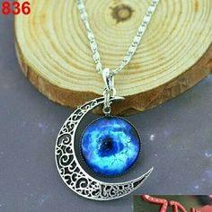 NEW Blue Galaxy Universe Interstellar crossing Crescent Moon Glass Cabochon Necklace