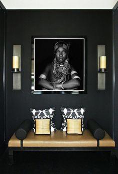 22 ideas bedroom black yellow interior design for 2019 Foyer Design, Entry Way Design, Design Bedroom, African Interior Design, Modern Entryway, Modern Wall, Contemporary Hallway, Entryway Ideas, Contemporary Furniture