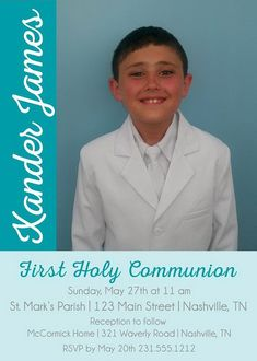 Boys First Communion Invitations Photo by AnnounceItFavors Printable Invitations, Printables, Boys First Communion, Holy Communion Invitations, You Used Me, School Colors, Special Promotion, Single Image, Text Color