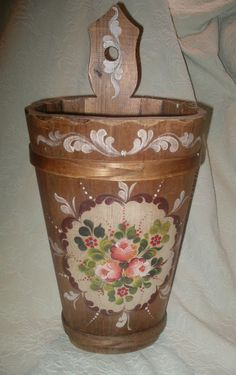 23.25in overall height. 17in tall (round section) VTG ~ Hand Painted Floral WOOD UMBRELLA STAND ~ Shabby ~German Scandinavian