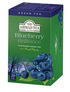 Blueberry Brilliance Flavoured Green Ahmad Tea 20 Foil Bags >>> To view further for this item, visit the image link. Blueberry Green Tea, Ahmad Tea, Flavoured Green Tea, Tea Packaging, Tea Time, Decorative Boxes, Fruit, Farming Life, Image Link