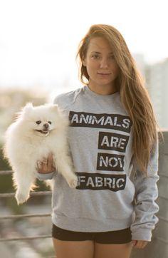"""Nikkii Bear in #TheTreeKisser """"Animals Are Not Fabric"""" sweatshirt!"""