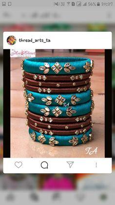 Silk Thread Bangles Design, Gold Bangles Design, Thread Jewellery, Kundan Bangles, Silk Bangles, Indian Accessories, Thread Art, Embroidered Blouse, Mehndi Designs