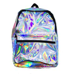 HOLA BACKPACK ❤ liked on Polyvore featuring bags, backpacks, accessories, bags/purses, hologram bags, rucksack bags, day pack backpack, strap backpack and holographic backpack