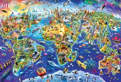 EuroGraphics Crazy World Puzzle. Box size: x x Finished Puzzle Size: x A whimsical , fun depiction of the Map of the World. Numerous landmarks and well known features from around the world make this a delightful image. Fun and educaitonal! Wooden Puzzles, Jigsaw Puzzles, Kids Puzzles, Geography Games For Kids, 2000 Piece Puzzle, Map Puzzle, Puzzle 1000, Maps For Kids, World Wallpaper