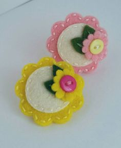 pink-lemonade-set-of-two-wool-felt snap hair clips flowers by berry cool designs, $ 10.00