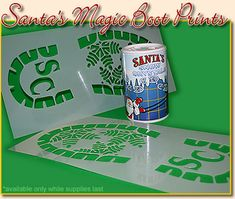 Santa Boot Print Kit - Leave Santa tracks throughout your home. Cut stencil and sprinkle with talc Christmas And New Year, All Things Christmas, Winter Christmas, Christmas Holidays, Merry Christmas, Christmas Decorations, Christmas Ideas, Xmas, Holiday Crafts