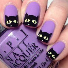 There are three kinds of fake nails which all come from the family of plastics. Acrylic nails are a liquid and powder mix. They are mixed in front of you and then they are brushed onto your nails and shaped. These nails are air dried. Halloween Nail Designs, Halloween Nail Art, Cute Nail Designs, Purple Halloween, Halloween Decorations, Halloween Halloween, Cat Nail Art, Cat Nails, Love Nails